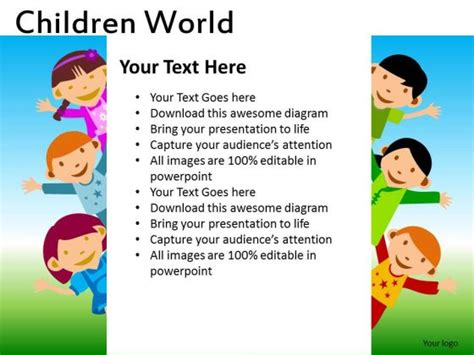 powerpoint template children continents for powerpoint