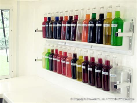 Snow Cone Bottle Rack by Snoball Trailer Features Snowizard Inc