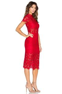 alexis leona lace dress in red lyst