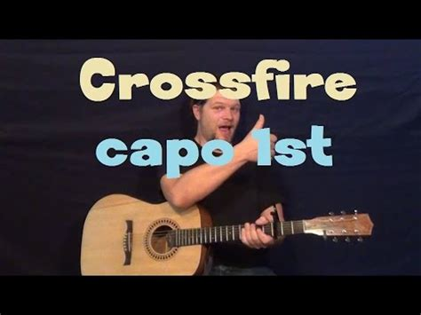 crossfire stevie ray vaughan easy guitar lesson capo st fret   play tutorial youtube