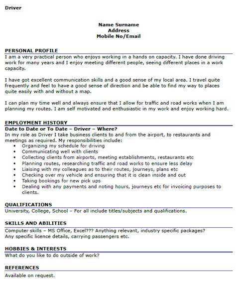 Personal Driver Cover Letter by Driver Cv Exles Icover Org Uk