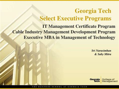Executive Mba Programs For Business Owners by Ppt Tech Select Executive Programs Powerpoint