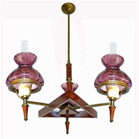 Plum Chandelier Deco Purple Plum Amethyst Glass Shades Wood And Brass Chandelier For Sale At 1stdibs