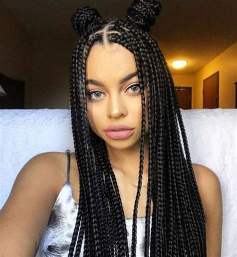 pictures of colored hair box braid buns 60 totally chic and colorful box braids hairstyles to wear