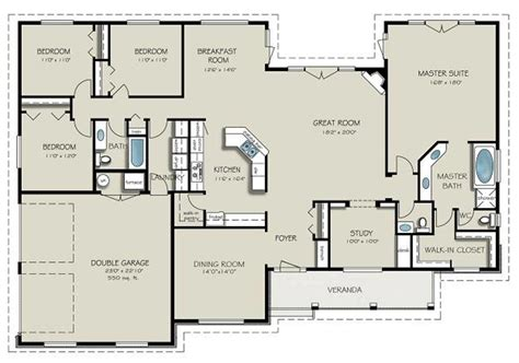floor plans for a 4 bedroom 2 bath house country style house plan 4 beds 3 baths 2563 sq ft plan