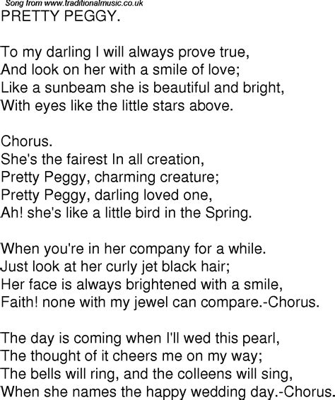 You Re Beautiful Lyrics Wedding Bells Ring by Time Song Lyrics For 04 Pretty Peggy