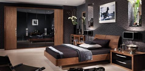 Walnut And Black Gloss Bedroom Furniture Bedroom In American Walnut Glossy Black Strachan
