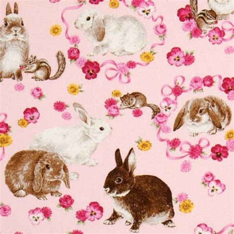 pink easter pattern cute pink easter bunny fabric flowers chipmunks animal
