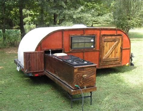 teardrop trailers hitch a tiny kitchen to your car the kitchn teardrop trailer with pull out kitchen imagine this with
