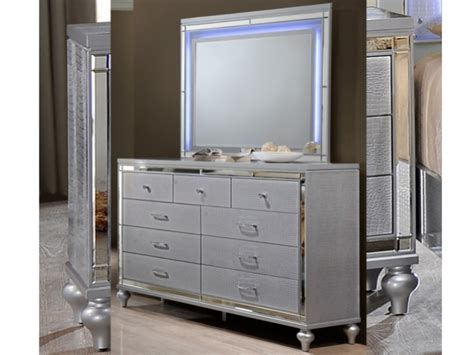 Valentino Bedroom Furniture Valentino Silver Collection Dresser And Mirror Set Bailey S Furniture