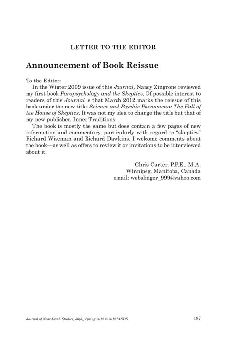 Letter to the Editor: Announcement of Book Reissue - Page