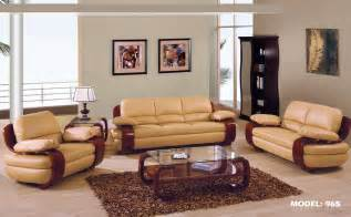 gf965tenlrset 2 pcs tan leather living room set sofa and