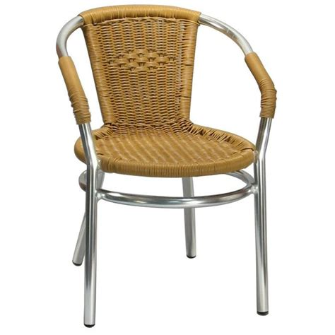 Faux Wicker Patio Chairs by Aluminum Patio Arm Chair With Faux Honey Rattan