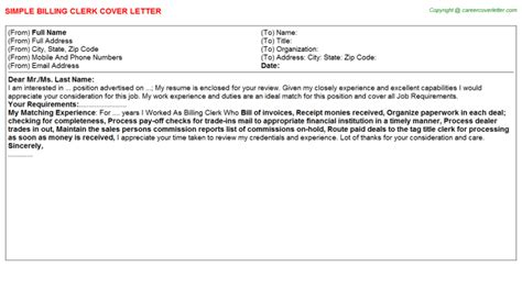 billing clerk cover letter billing clerk cover letters