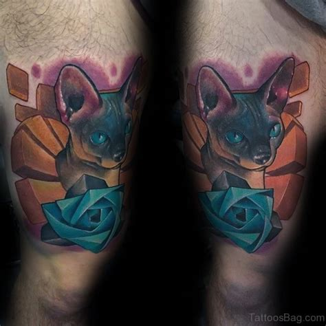 cat rose tattoo 12 lovely blue thigh tattoos