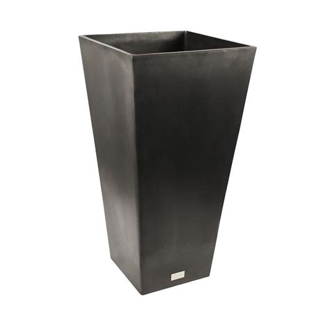 veradek midland 16 in dia square black tall plastic