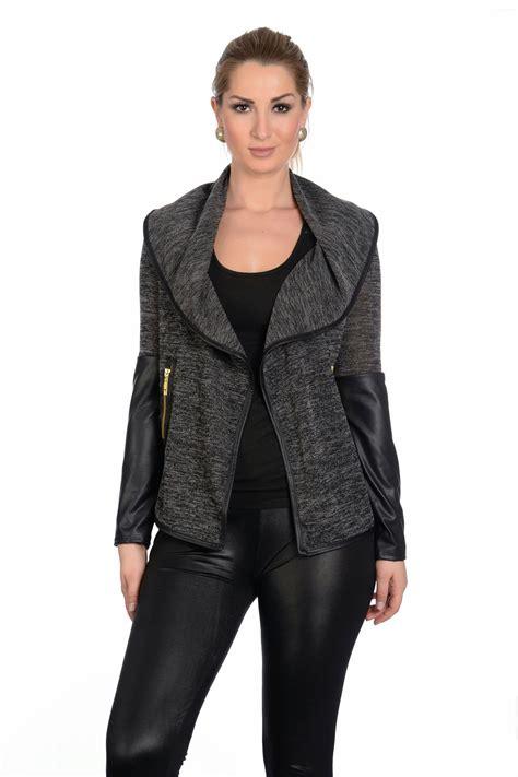Sale Cardigan new womens look pvc sleeve waterfall cardigan blazer top uk sale ebay
