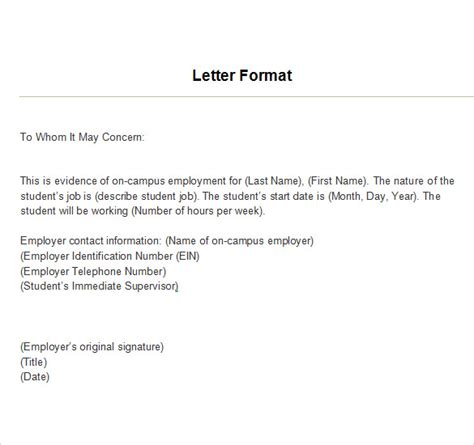 Employment Verification Letter Draft Employment Verification Letter 14 Free