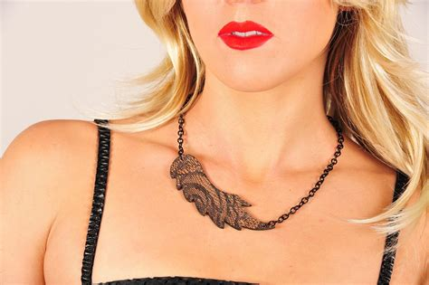 reversible tattoos leather reversible necklace wings pattern with