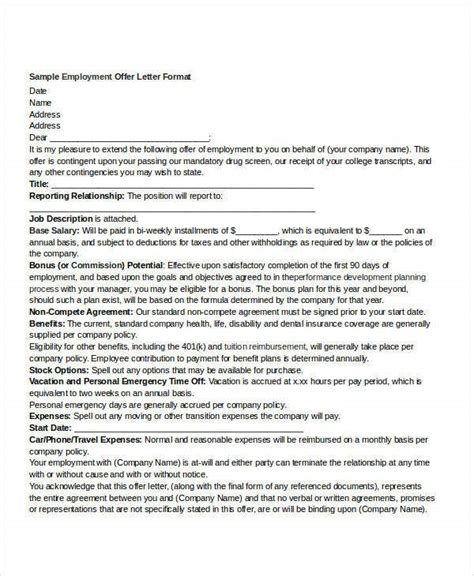 offer letter templates word