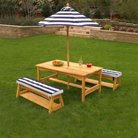 outdoor bench table set outdoor table bench set with cushions umbrella navy