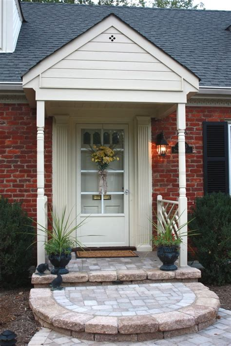 Front Porch Doors Exterior Charming Small Front Porch Decoration Using Brown Brick Front Porch Wall Including