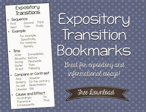 is biography an expository text free expository transition bookmarks fifth grade freebies