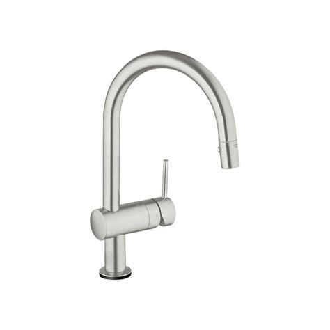shop grohe minta touch supersteel pull down kitchen faucet at lowes com