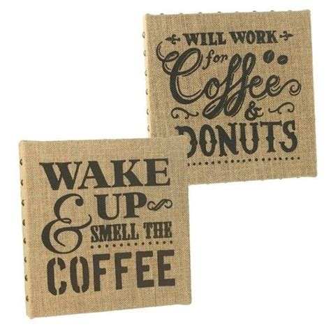Coffee Signs Kitchen Decor by Grasslands Road Wood Burlap Metal Studded Coffee Kitchen