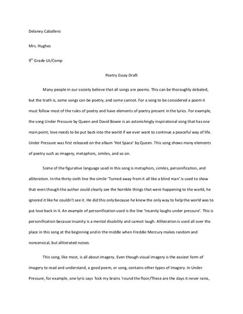 how to write a poetry analysis essay exle poetry
