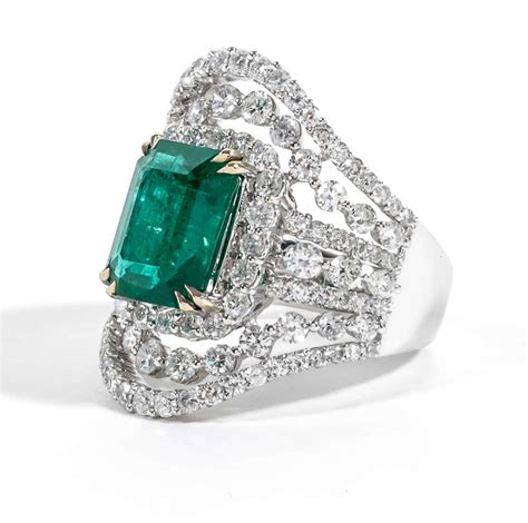 unique wide emerald gold ring for sale at 1stdibs