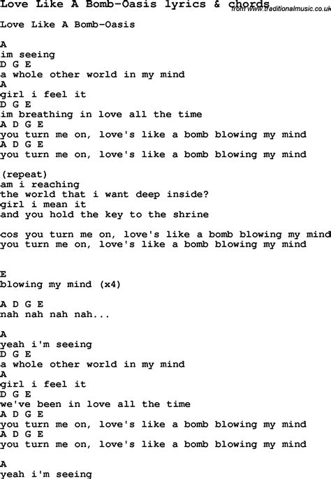 printable lyrics to jingle bombs love song lyrics for love like a bomb oasis with chords