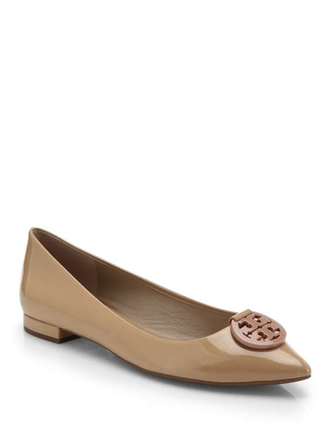patent leather flats burch patent leather logo flats in pink lyst
