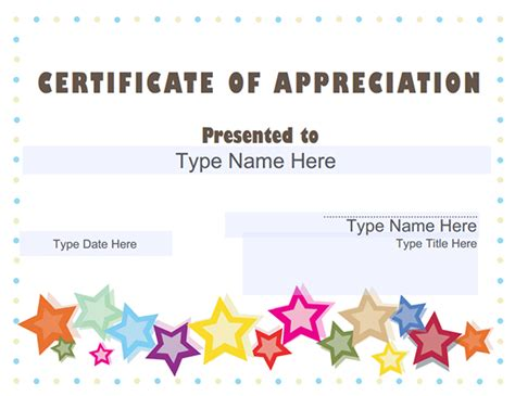 card template for appreciation certificate of appreciation templates sleprintable