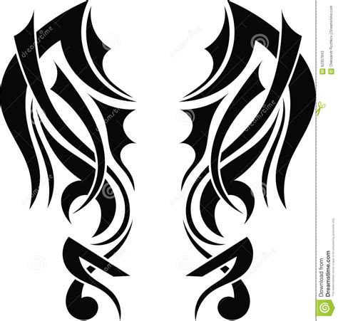 graphic design tribal tattoo wings stock vector image