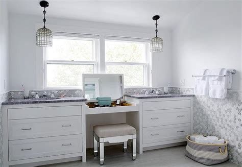Bathroom Vanity With Built In Stool Built In Makeup Vanity With Flip Top Mirror And Mirrored