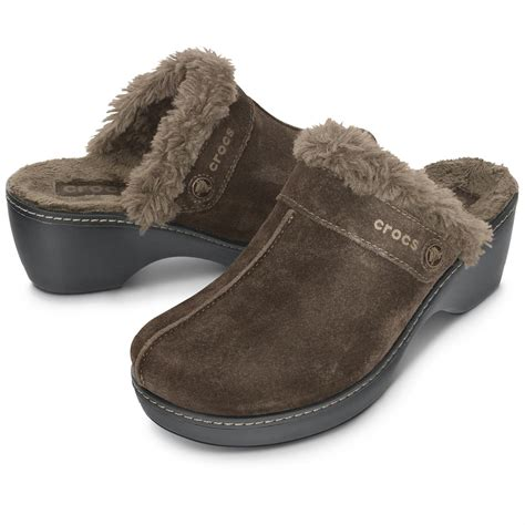 clogs boots for crocs s cobbler leather clog with faux fur trim