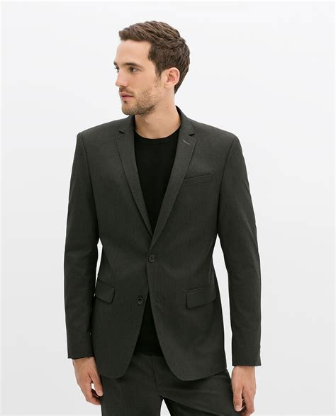 grey blazer zara charcoal slim fit blazer in gray for men dark grey