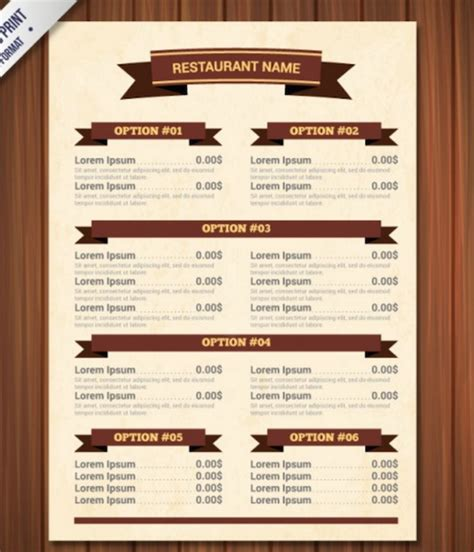 pdf menu template blank restaurant menu template word calendar template