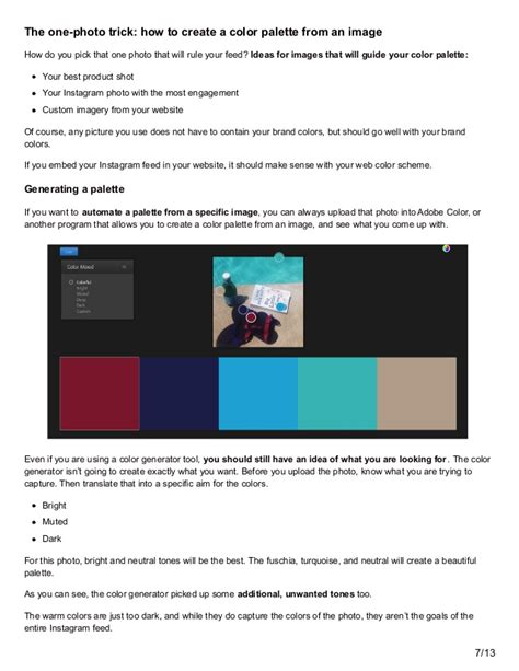 how to develop color how to develop the instagram color palette