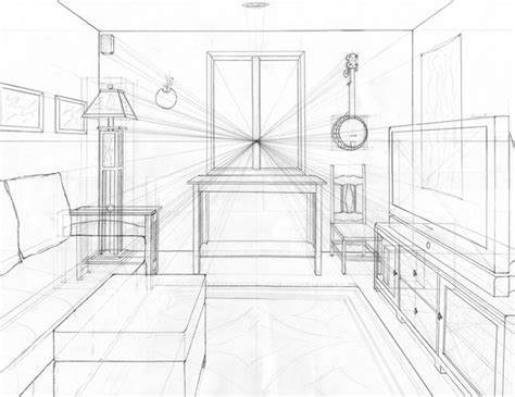 Perspective Drawing Living Room by One Point Perspective Living Room Drawing Design