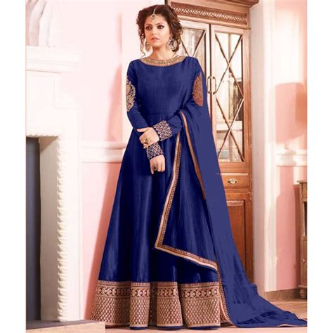 long sut designer embroidered blue anarkali long suit