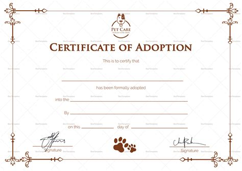 certificate of adoption template simple adoption certificate design template in psd word