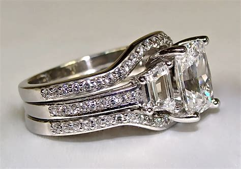 3 10ct radiant cut engagement ring with 2