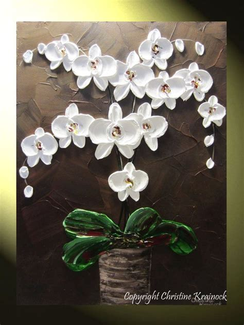 original abstract textured painting orchids white flowers