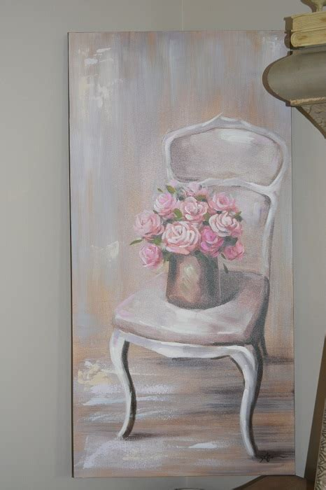french chair painting painting with roses shabby chic
