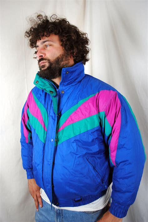 80s ski wear vintage 80s 90s puffy neon rainbow windbreaker ski jacket