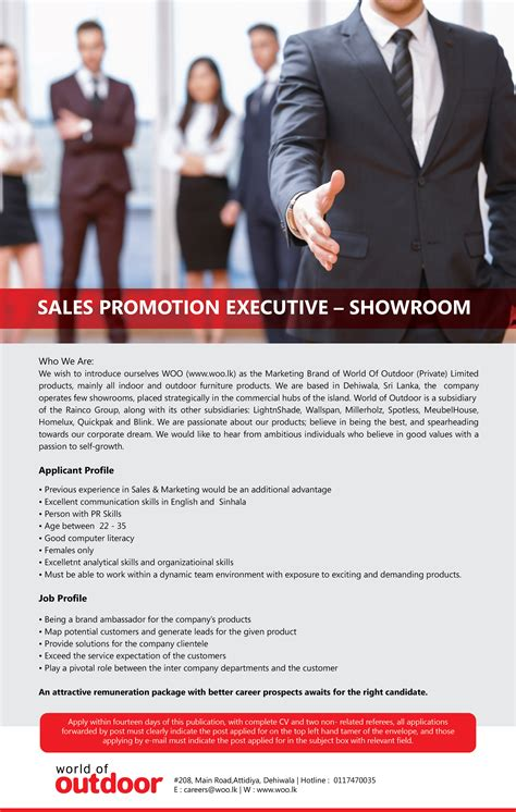 showroom sales assistant jobs vacancies in sri lanka top sales promotion executive showroom jobpal lk find