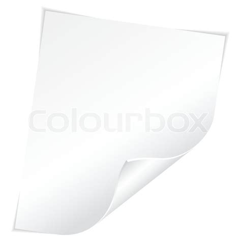 blank sheet of white paper with curved corner on white