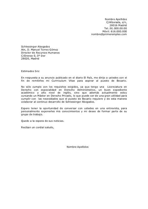 Modelo Carta De Presentacion Curriculum Administrativo Carta De Presentaci 243 N En Respuesta A Un Anuncio